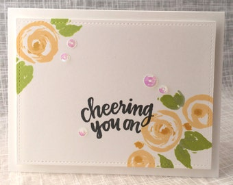 Cheering You On / Notecard / Folded Notecard / Handstamped