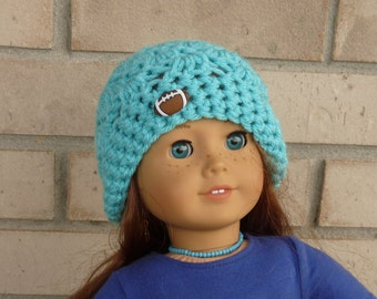 Doll Hat for 18 Inch Doll, Turquoise with Football