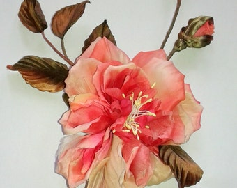 Large pink silk rose Brooch barrette