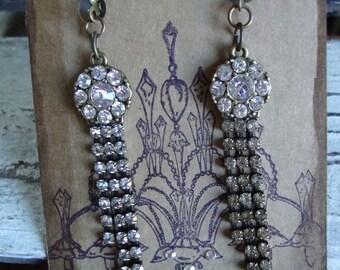 Antique Gold Rhinestone Earrings