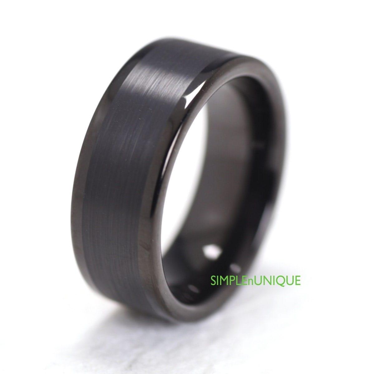 Mens Unique Bands: Mens Wedding Band Ring Unique Black Tungsten By SIMPLEnUNIQUE