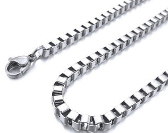 3mm Box Thin Chain Necklace, Square Box Chain Links, 316L Stainless Steel, Men's Women's Square Box Necklace, 16in - 48in, FREE Shipping!