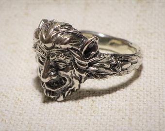 forest spirit sterling silver ring for men