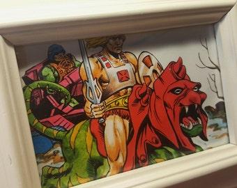 Battle Cat & He-Man Unique Print Wall Art Picture Frame