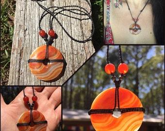 Carnelian healing stone necklace, sacral chakra necklace, healing crystal, boho chic