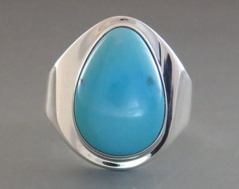 Natural Sleeping Beauty Turquoise and Sterling Silver Ring, Size 8 (UK Size Q)