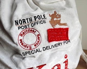 Santa Sack Embroidery Design, Christmas Embroidery Design, North Pole Embroidery Design, Personalised Santa Sack Embroidery Design,