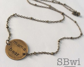 Mama bear necklace in bronze