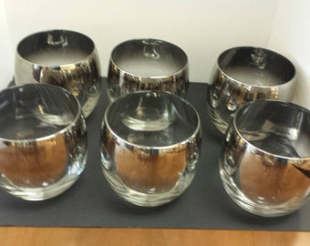 Set of 6 Dorothy Thorpe Silver Fade Roly Poly Glasses
