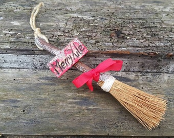 Merry Yule, hanging broomstick, yule tree ornament, christmas tree, hanging decor, yule decor, yule tree decor, pagan christmas, midwinter