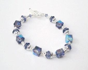 Blue Swarovski Crystal 7.5 Inch Bracelet, Blue Bicone Beaded Bracelet, Bracelets, Crystal Bracelet, Swarovski Jewelery, Gifts for Her