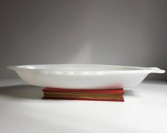 Large USA Glasbake Milk Glass Fish Dish Tray