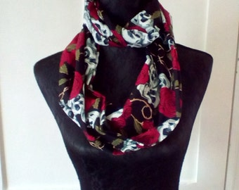 Pretty skull and roses  infinity scarf
