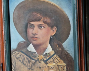 Vintage Annie Oakley Image Hand Painted by artist Jane Putnam