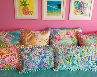 Lilly Pulitzer Pillow Lolita, Spot Ya, Zoo Party, Flamenco, Coral Cay, Seahorse, Mermaid, Painted Palm, Horsin Around, Wade and Sea