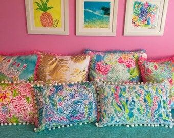 Lilly Pulitzer Pillow Lolita, Spot Ya, Zoo Party, Flamenco, Coral Cay, Seahorse, Mermaid, Painted Palm, Horsin Around, Wade and Sea
