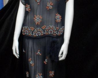 Sheer navy blue 1920s 1930s multi-coloured beaded dress