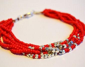 Red silver bracelet, multistrand bracelet, seed bead bracelet, elegant bracelet, silver red nugget bracelet, boho bracelet