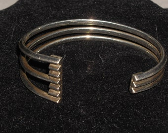 Sterling Silver 925 Vintage Abstract Lines Cuff Bracelet 31.7g