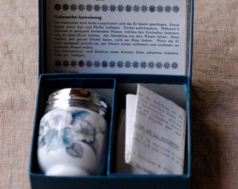 vintage Royal Worcester egg coddler / mid century cottage chic / flower motif porcelain china boxed / made in England 1960s / collectible