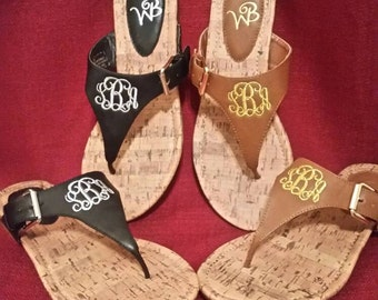 Personalized Sandals, Monogrammed Sandals, Beach Sandals, Size 9