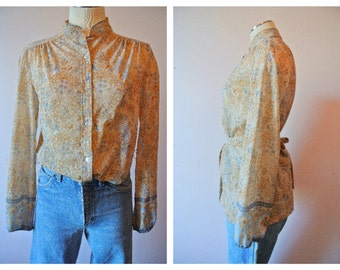 1960's Printed Button front top with tie