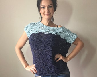 Blue Women Hand Knit Pullover Top / Short Sleeved / Summer Cropped Sweater Top / Womens Knitwear