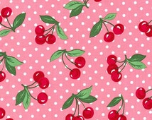 Michael Miller Cherry Dot fabric in pink polka dot with cherries