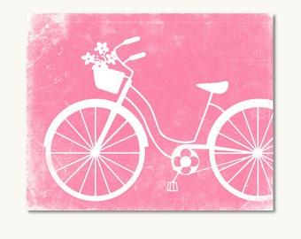 pink bicycle print shabby wall decor girls room wall art poster jpg vintage bicycle flower basket printable digital print instant download