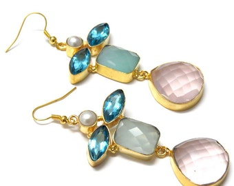 PinkBasket Gold Plated Colorful Gemstone Earrings (Prehnite, Rose Quartz and Chalcedony)