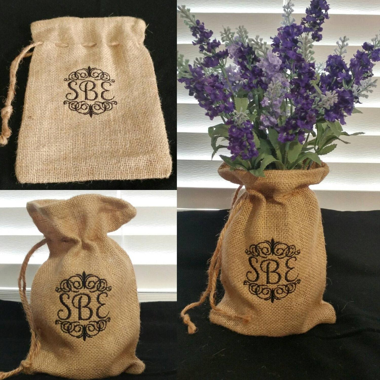 Personalized burlap bags monogrammed burlap decor for Decorative burlap bags