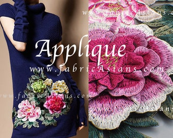 Chinese Embroidery. Applique Flower Patch. Peonies.