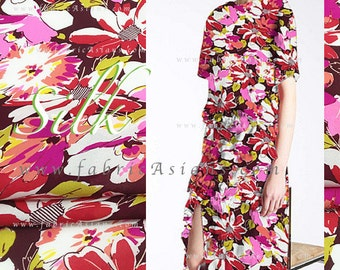 Red silk fabric Floral Prints