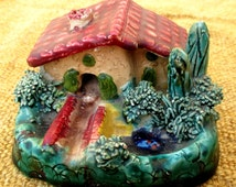 Kitch-cute French ceramic cottage ashtray, handmade Vallauris style studio pottery