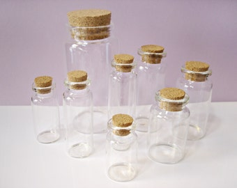 8 Clear Glass Containers with Corks - Mixed Size Glass Bottle Collection, 8 Vials with cork stoppers