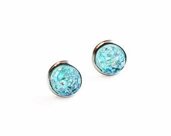 HYPOALLERGENIC EARRINGS Faux Druzy Earrings 8mm SMALL (Surgical Stainless Steel) - Light Blue