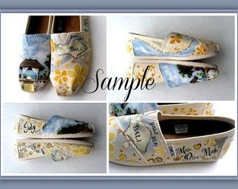 Bride's Love Story Wedding Shoes, Unique Hand Painted Shoes, Bride's Wedding Shoes, Custom TOMS, Wedding Flats, Painted Wedding Shoes