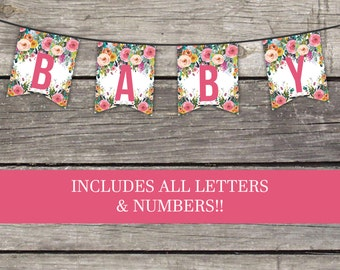 Floral Baby Shower Bunting Banner - Floral Banner - Baby Shower Games - Watercolor Baby-111
