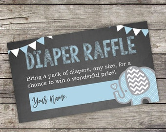 Elephant Diaper Raffle Tickets - Instant Download - Chalkboard Elephant Baby Shower Insert - Diaper Raffle Tickets - Baby-102