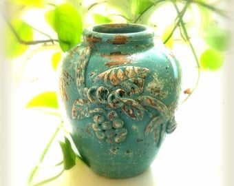 Decorative Planter, Shabby Cottage in Cascade Blue, Rustic