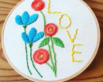 Love embroidered hoop