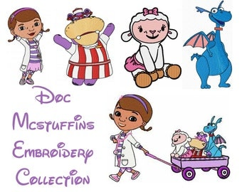 5 Doc Mcstuffins Embroidery Design patterns- several formats & sizes - Instant Download