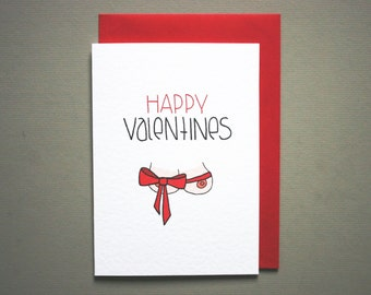 happy valentine * funny valentine card boyfriend * husband naughty valentine * valentines day card for him * a6 with red envelope