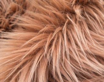 Kingdom of Fabrics Mongolian 60 Inch Faux Fur Light Brown Fabric by the Yard, 1 yard
