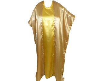 Satin Tan Yellow Kaftan, Soft Flowy Dress, Lounge Wear,  Dress, Champagne Yellow Caftan, Plus Size Caftan, Roomy House Dress, Swimsuit Cover