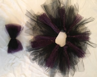 Black and purple tutu with bow
