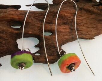 Rock Lollies Lampwork Earrings OOAK SRA T25