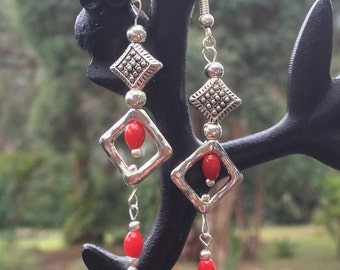 Red Coral and Tibetan silver 'diamond' Earrings
