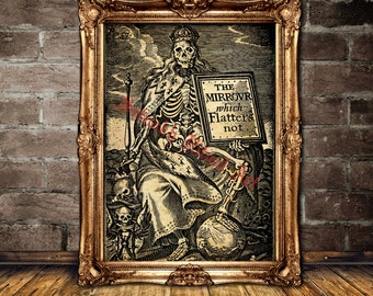 Death as king in crown print, occult print, medieval illustration, vintage skeleton poster, memento mori, home decor, dance macabre #371