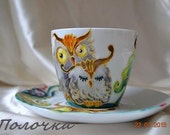 """Hand painted cup """"Owls"""",hand painted picture,Kitchen and Dining,Gift for Mom,Owl ornament mug,paint on ceramics,tea cup,owl cup, owl design."""